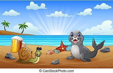 plage, cachet, escargot, dessin animé