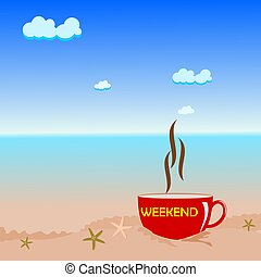 plage, café, concept, tasse, week-end, rouges