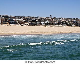 plage, californie, manhattan