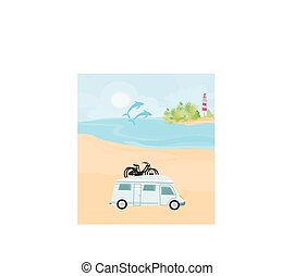 plage, camping