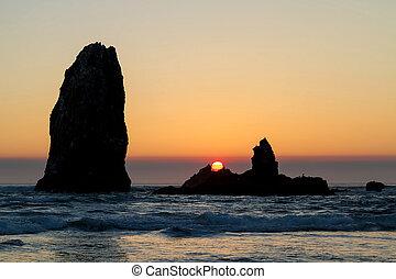 plage canon, coucher soleil