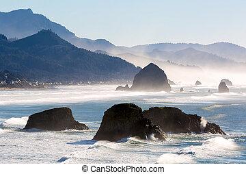 plage canon, sur, les, côte orégon