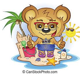 plage, caractère, dessin animé, ours, teddy