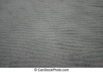 plage., causé, ondulations, sable, noir, vent