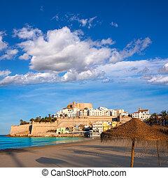 plage, château,  Castellon, espagne,  peniscola