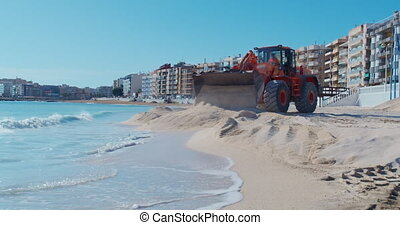 plage., chargeur, travaux, expansion, sable, rivage, amélioration, construction