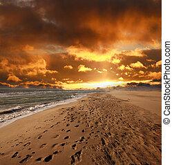 plage, ciel dramatique, mer, encombrements, sablonneux