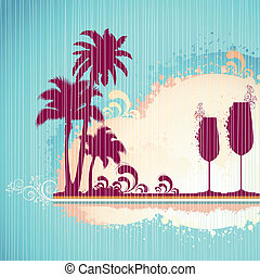 plage, cocktail