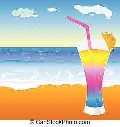 plage, cocktail, illustration