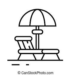plage, contour, ligne, signe, vecteur, symbole., recours, linéaire, illustration, concept, icône