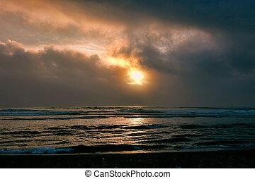 plage, coucher soleil, abandonnés