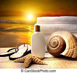 plage coucher soleil, accessoires
