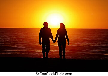 plage, coucher soleil couples, aimer