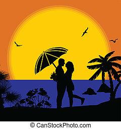 plage, coucher soleil couples, romantique