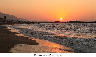 plage, coucher soleil, grèce