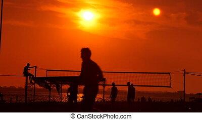plage coucher soleil, groupe, public, gens