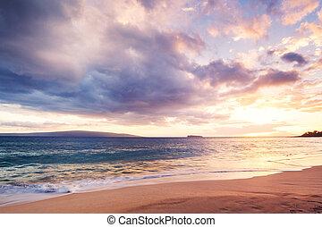plage coucher soleil, hawaien