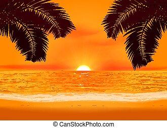 plage, coucher soleil, illustration, relaxation