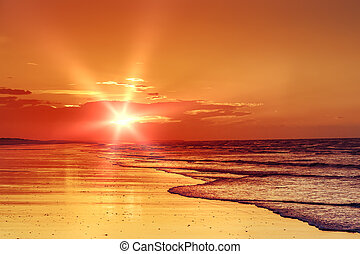 plage, coucher soleil