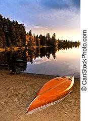 plage, coucher soleil, lac, canoë