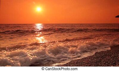 plage, coucher soleil, marche long, couple, jeune