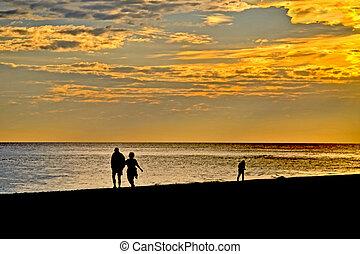 plage, coucher soleil, promenade