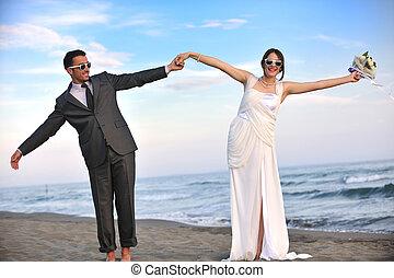 plage, coucher soleil, romantique, mariage