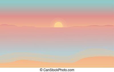 plage coucher soleil, silhouette