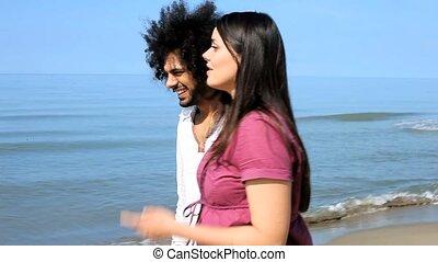plage, couple, amour, heureux