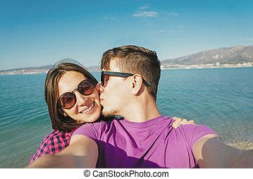 plage, couple, autoportrait, amour, jeune