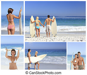 plage, couple, collage