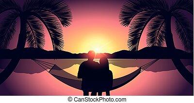 plage, couple, hamac, coucher soleil, apprécie