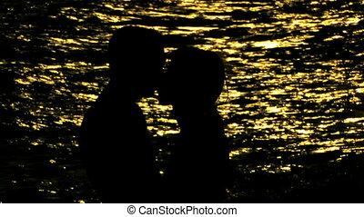 plage, couple, jeune, marche