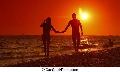 plage, couple, long, marche, été