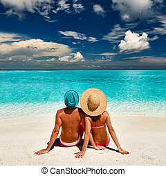 plage, couple, maldives