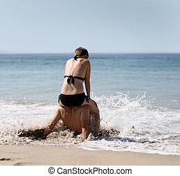 plage, couple