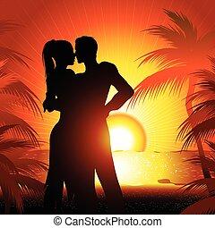 plage, couple, silhouette