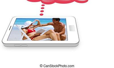 plage, couple, vidéo