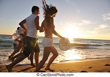 plage, courant, groupe, gens