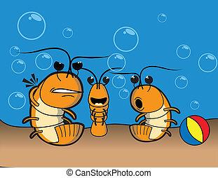 plage, crevette