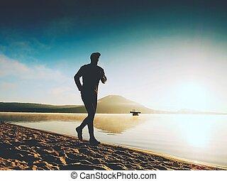 plage., crise, sain, courant, rivage, jogging, mer, grand, long, mâle, morning., homme
