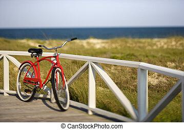 plage, croiseur, bicycle.