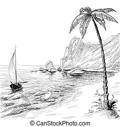 plage, croquis, arbre, vecteur, paume, mer, bateau