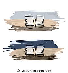 plage, croquis, pont préside, deux, conception, ton