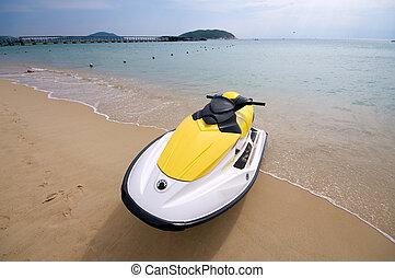 plage, cruizer, accélérez bateau