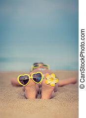 plage, délassant, enfant
