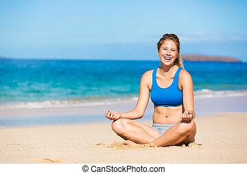 plage, délassant, hawai, femme, beau
