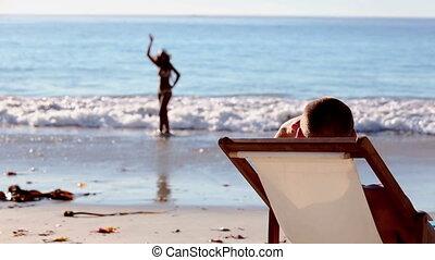 plage, délassant, homme affaires