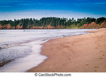 plage, dans, île prince edouard