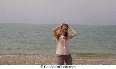 plage, danses, femme, rire, blond